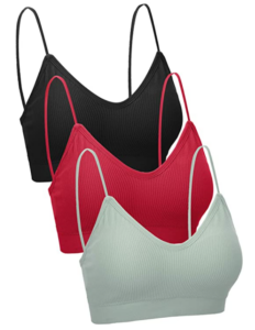 3 Pieces V Neck Women Bra Seamless Padded Camisole Bandeau Bra with Elastic Straps